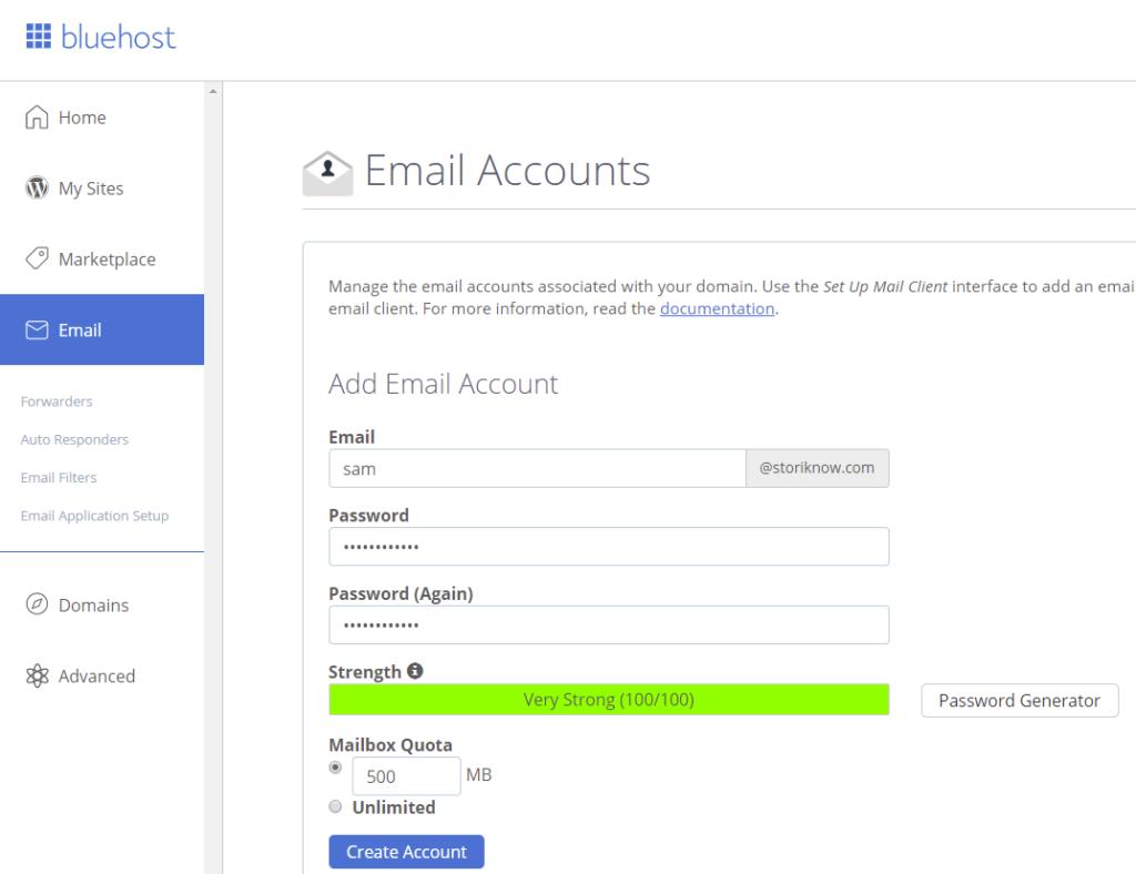 bluehost email setup